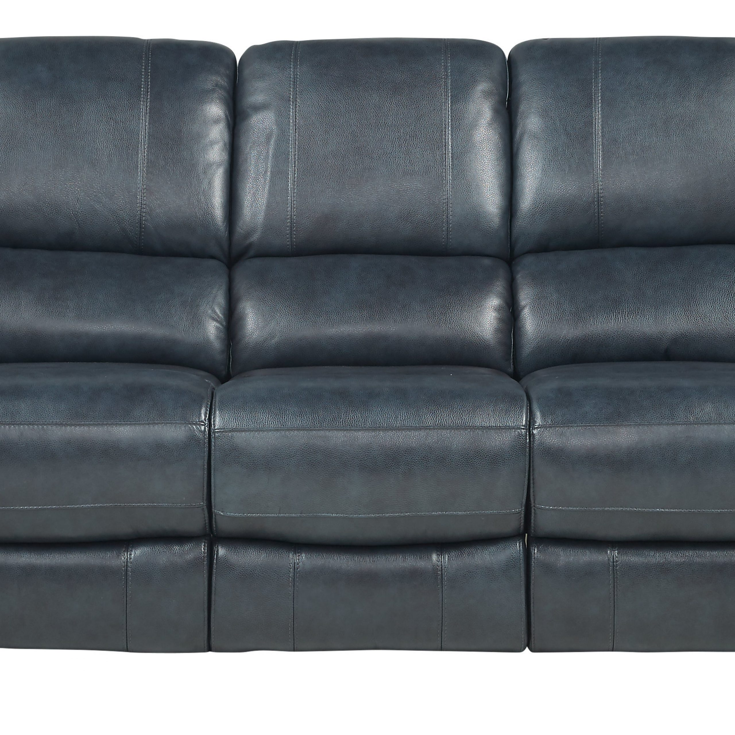 Power Reclining Sofas For Favorite Frederickburg Blue Leather Power Reclining Sofa – Traditional, (View 3 of 20)