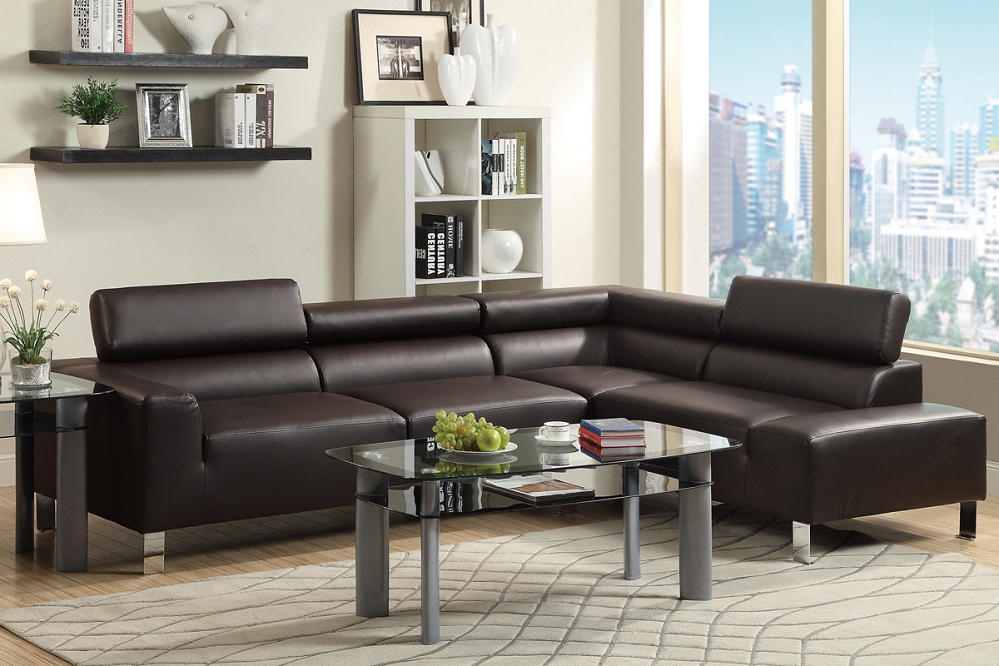Preferred 3pc Bonded Leather Upholstered Wooden Sectional Sofas Brown Throughout Alpha Lux Ii Espresso Bonded Leather Modern Sofa Sectional (View 13 of 20)