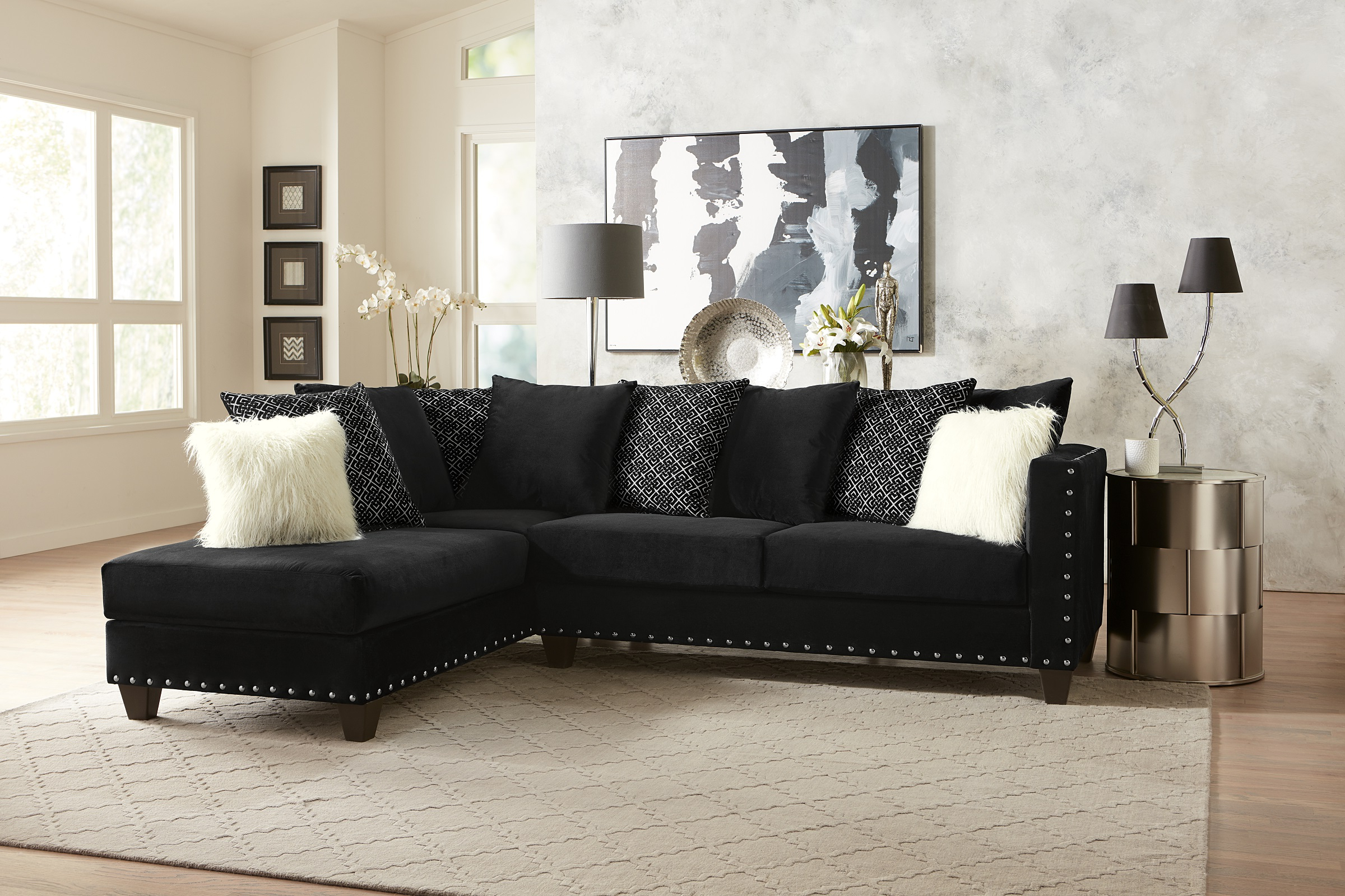 Preferred 4pc Crowningshield Contemporary Chaise Sectional Sofas Pertaining To Living Room Modern Classic Black Fabric Sectional Sofa 2pc (View 3 of 20)
