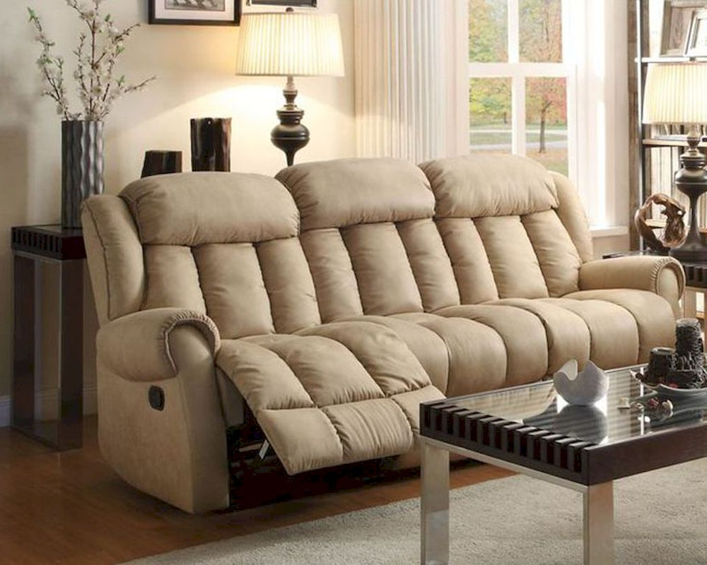 Preferred Beige Sofas With Regard To Double Reclining Sofa Mankato In Beigehomelegance El (View 15 of 20)
