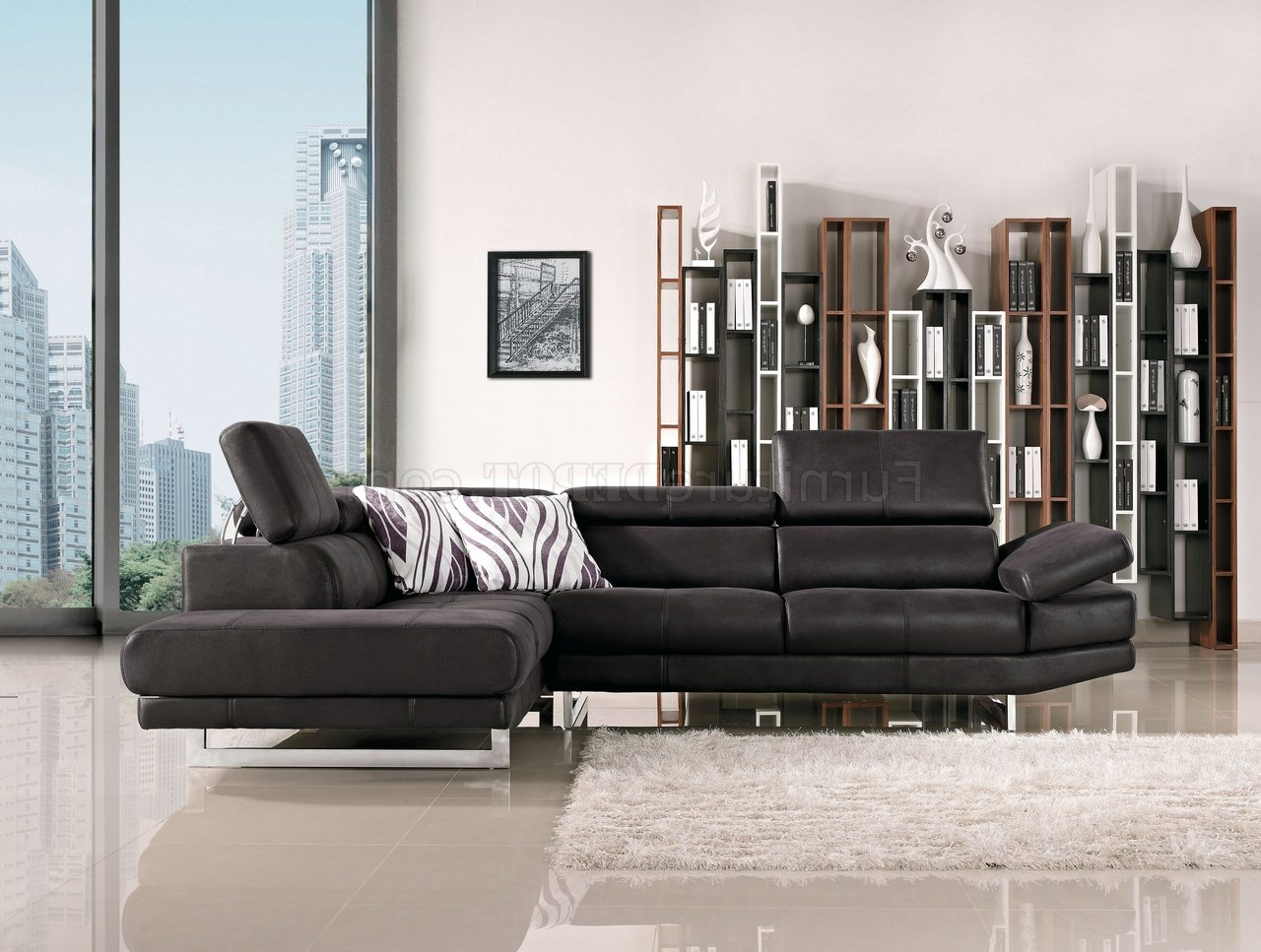Preferred Black Fabric Modern Sectional Sofa W/adjustable Headrest Throughout Wynne Contemporary Sectional Sofas Black (View 4 of 20)