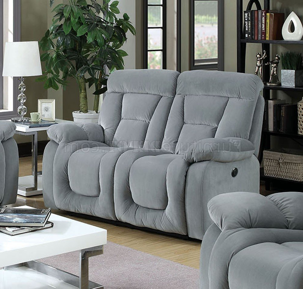 Preferred Bloomington Cm6129gy Reclining Sofa In Gray Fabric W/options Intended For Gray Sofas (View 16 of 20)