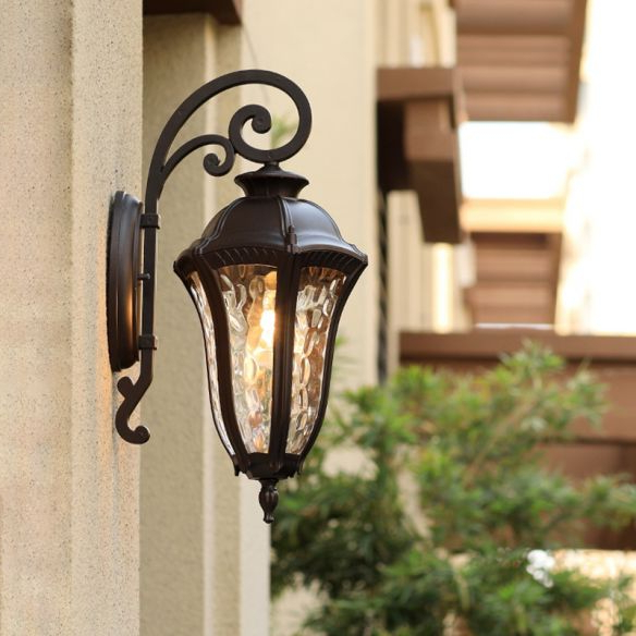 Preferred Carner Outdoor Wall Lanterns With Regard To 1 Light Water Glass Wall Lighting Rustic Black Urn Outdoor (View 4 of 20)