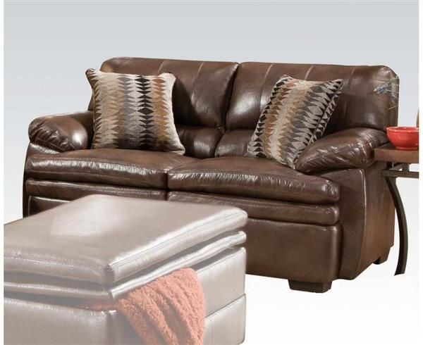 Preferred Devin Brown Bonded Leather Wood Loveseat W/2 Pillows With Regard To 3pc Bonded Leather Upholstered Wooden Sectional Sofas Brown (View 16 of 20)