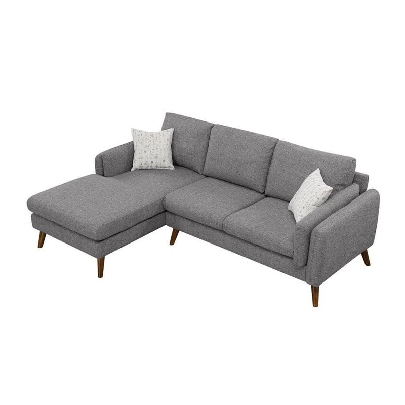 Preferred Dulce Mid Century Chaise Sofas Light Gray For Founders Gray Mid Century Fabric Right Hand Facing (View 6 of 20)