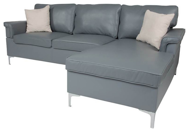 Preferred Element Left Side Chaise Sectional Sofas In Dark Gray Linen And Walnut Legs For Sectional With Left Side Facing Chaise In Gray (View 14 of 20)