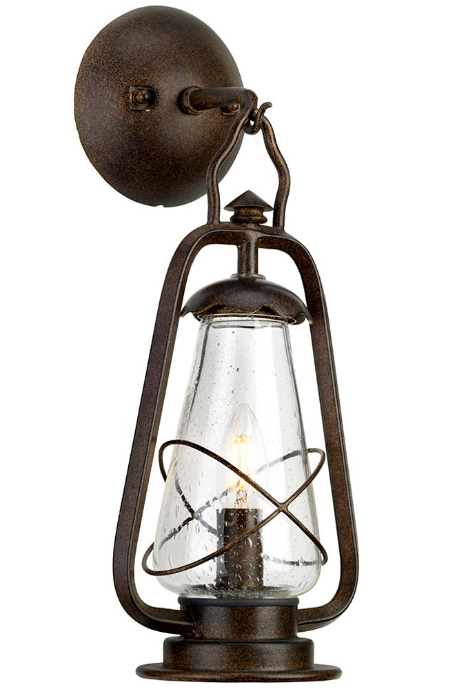 Preferred Elstead Miners Hanging Outdoor Wall Lantern Old Bronze With Payeur Hammered Glass Outdoor Wall Lanterns (View 17 of 20)
