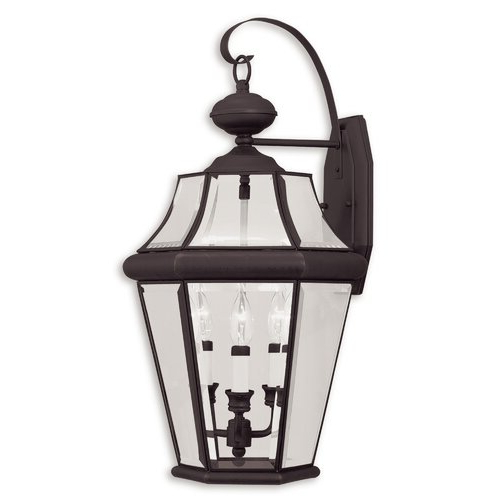 Preferred Gillian 3 – Bulb Beveled Glass Outdoor Wall Lanterns Within Darby Home Co Avon 3 – Bulb 24'' H Beveled Glass Outdoor (View 3 of 20)