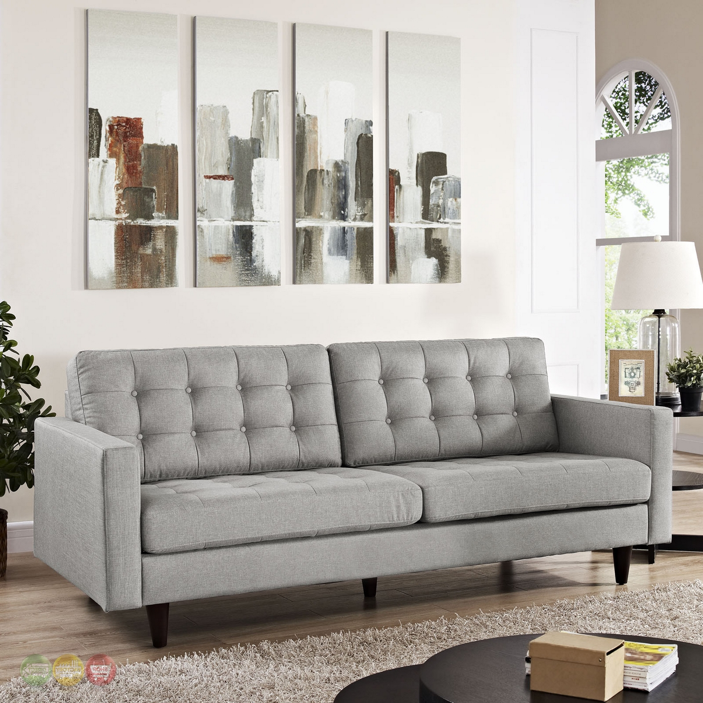 Preferred Gray Sofas With Regard To Empress Contemporary Button Tufted Upholstered Sofa, Light (View 13 of 20)