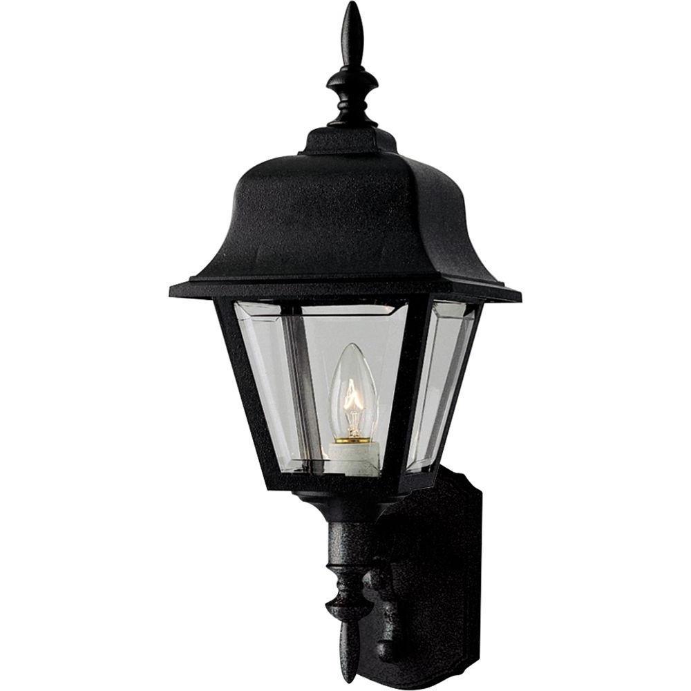 Preferred Hampton Bay 1 Light Black Dusk To Dawn Outdoor Wall Within Nayen Black Wall Lanterns (View 11 of 20)