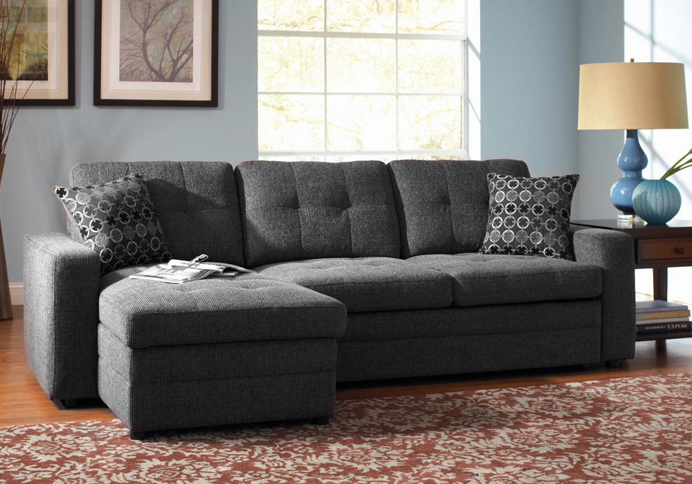 Preferred Hugo Chenille Upholstered Storage Sectional Futon Sofas Throughout Gus Sectional Sofa W/ Pull Out Bed Storage Chaise Charcoal (View 2 of 20)