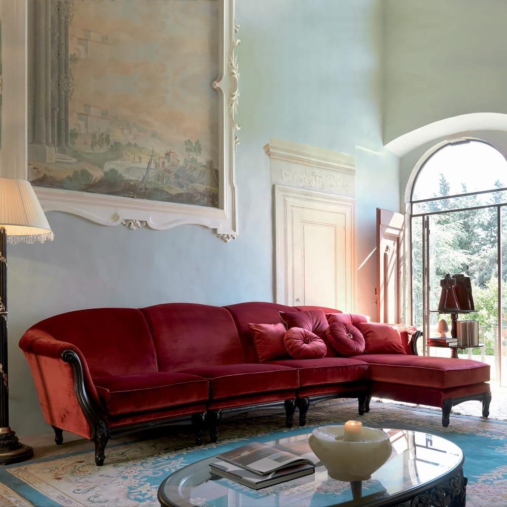 Preferred Italian Ruby Red Velvet Sectional Sofa In Strummer Velvet Sectional Sofas (View 18 of 20)