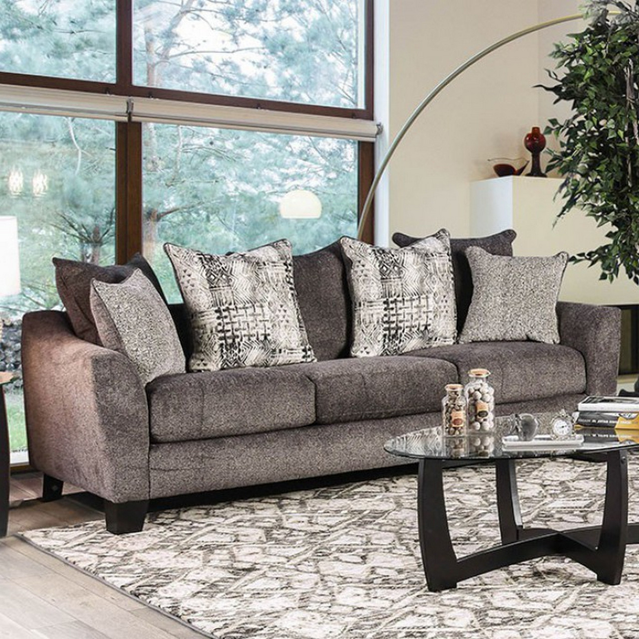 Preferred Lyvia Pillowback Sofa Sectional Sofas Intended For Felicity Contemporary Grey Chenille Sofa With Loose Pillow (View 9 of 20)
