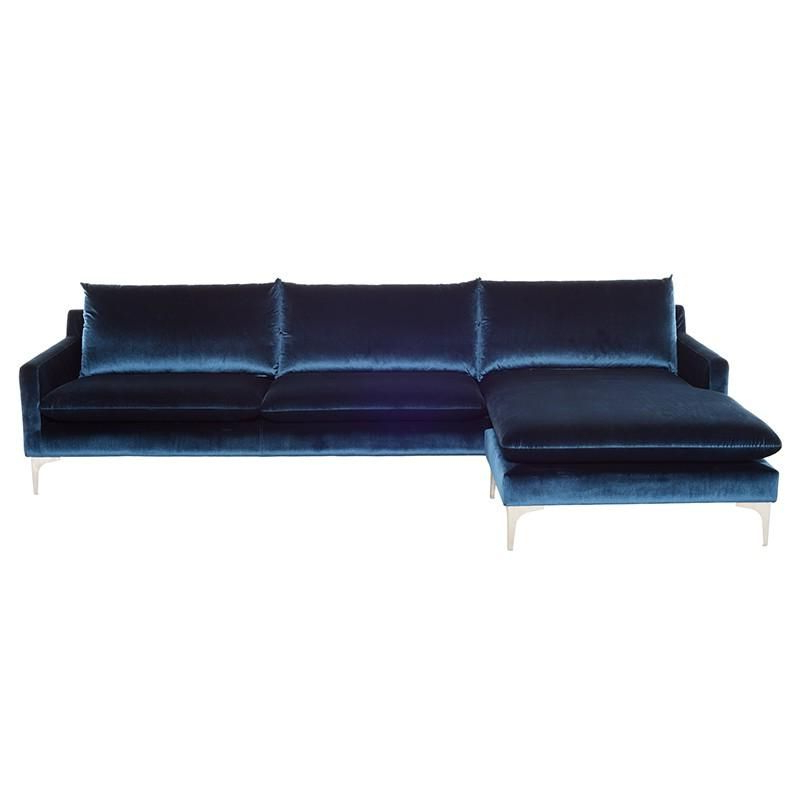 Preferred Midnight Blue Velvet Sofas, Loveseats, And Sectionals In Dulce Mid Century Chaise Sofas Dark Blue (View 13 of 20)