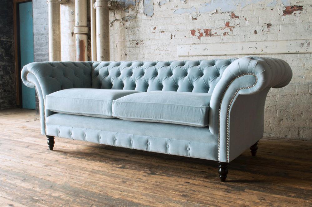 Preferred Modern Handmade 3 Seater Pale Dusty Blue Velvet Regarding Brayson Chaise Sectional Sofas Dusty Blue (View 15 of 20)