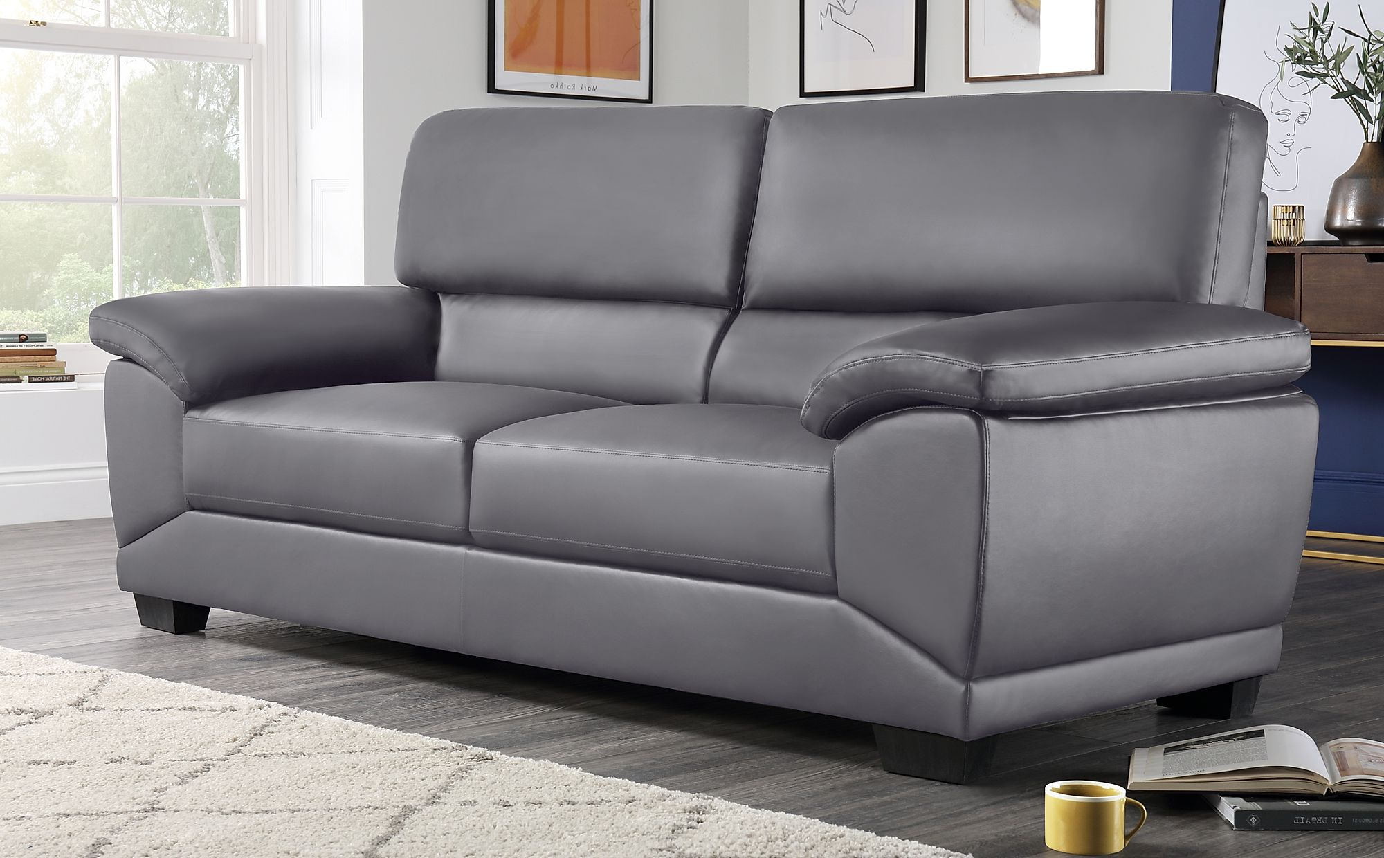 Preferred Oregon Grey Leather 3 Seater Sofa (View 14 of 20)