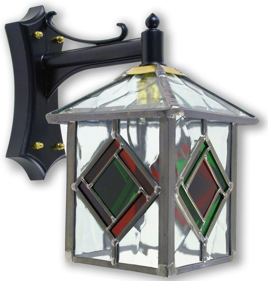 Preferred Powell Beveled Glass Outdoor Wall Lanterns Intended For Richmond Olde Worlde Red / Green Leaded Glass Outdoor Wall (View 10 of 20)