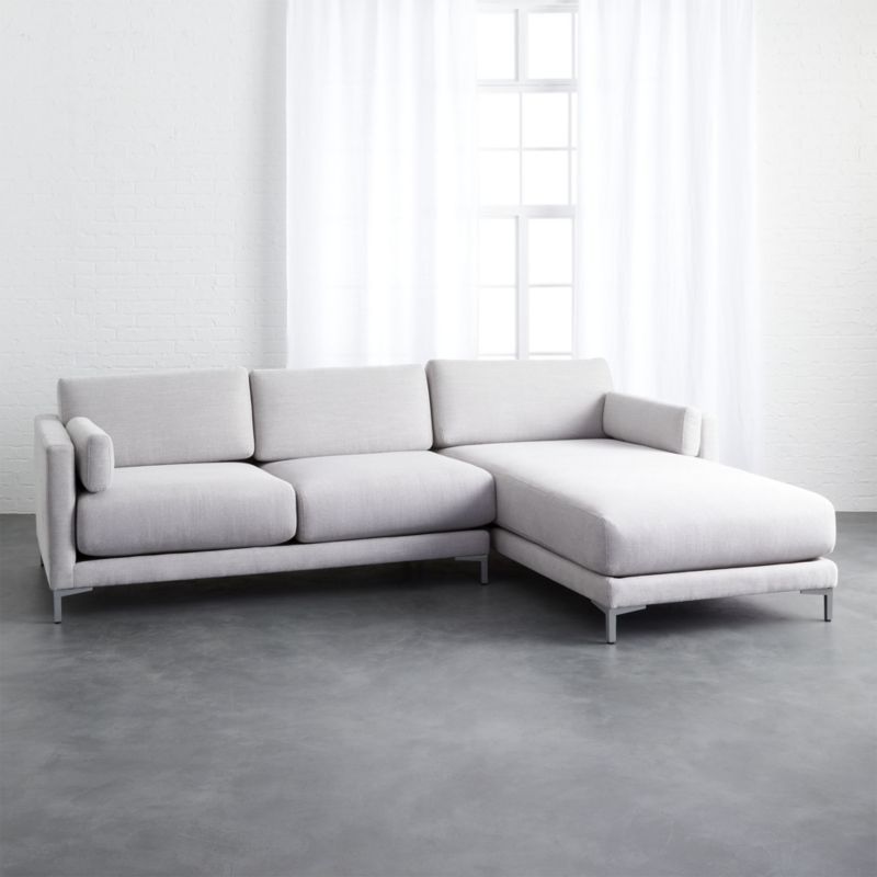 Preferred Shop District 2 Piece Grey Microfiber Sectional Sofa For 2pc Maddox Left Arm Facing Sectional Sofas With Chaise Brown (View 9 of 20)