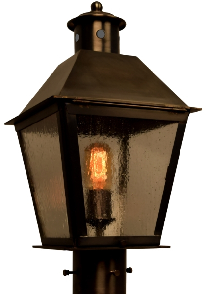 Preferred Tilley Olde Bronze Water Glass Outdoor Wall Lanterns Pertaining To Banford Post Light Outdoor Rustic Copper Lantern (View 11 of 20)