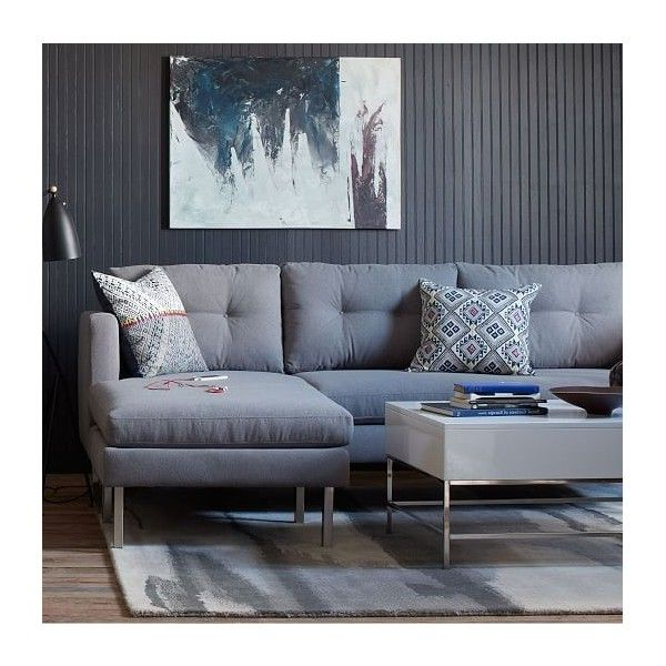 Preferred West Elm Jackson Sectional, Linen Weave, Dusty Blue Inside Brayson Chaise Sectional Sofas Dusty Blue (View 8 of 20)