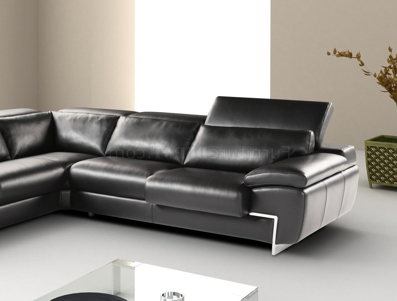 Preferred Wynne Contemporary Sectional Sofas Black Regarding Black Full Leather Modern Sectional Sofa W/adjustable Headrest (View 12 of 20)