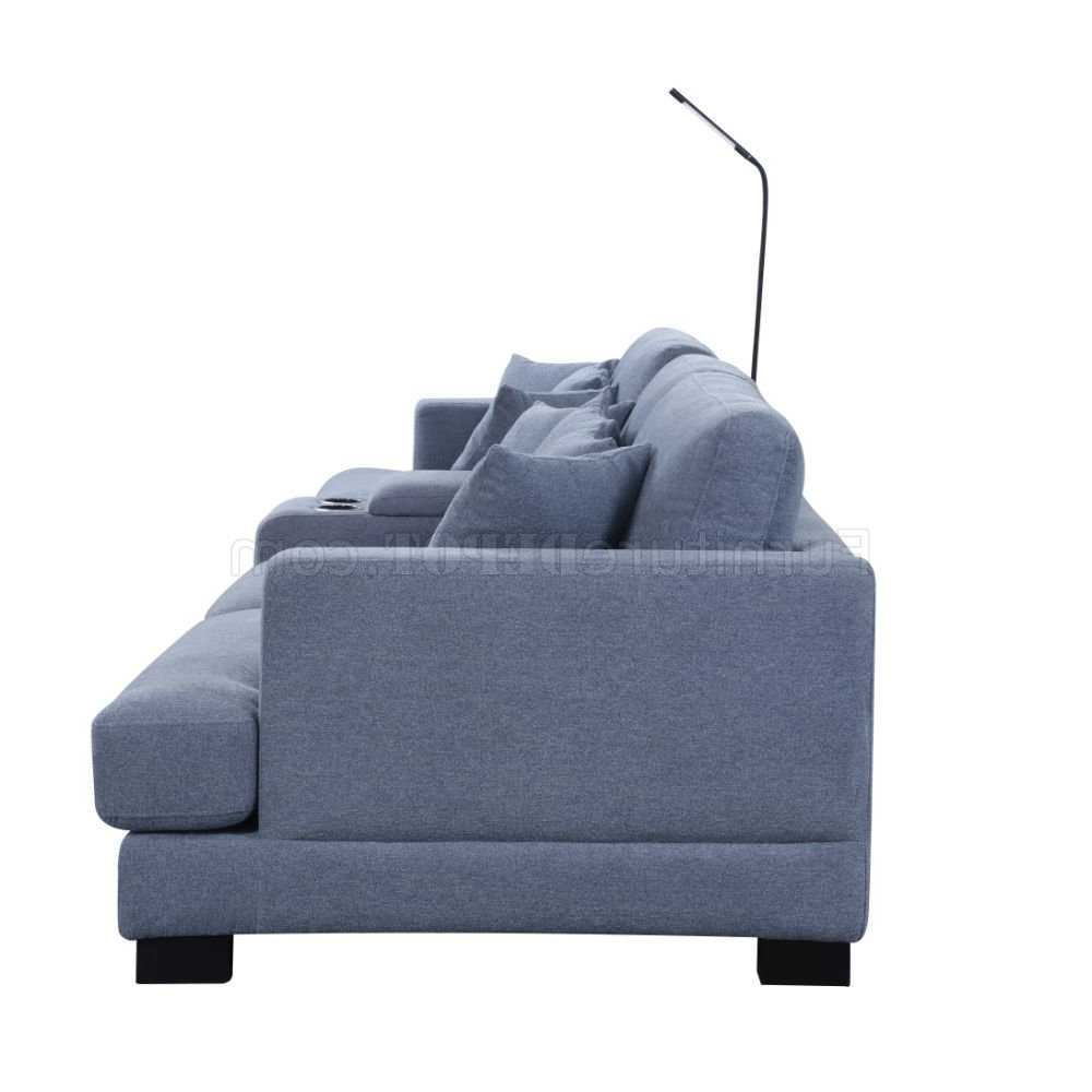 Qiana Sectional Sofa 55235 In Dusty Blue Fabricacme Throughout Latest Brayson Chaise Sectional Sofas Dusty Blue (View 16 of 20)