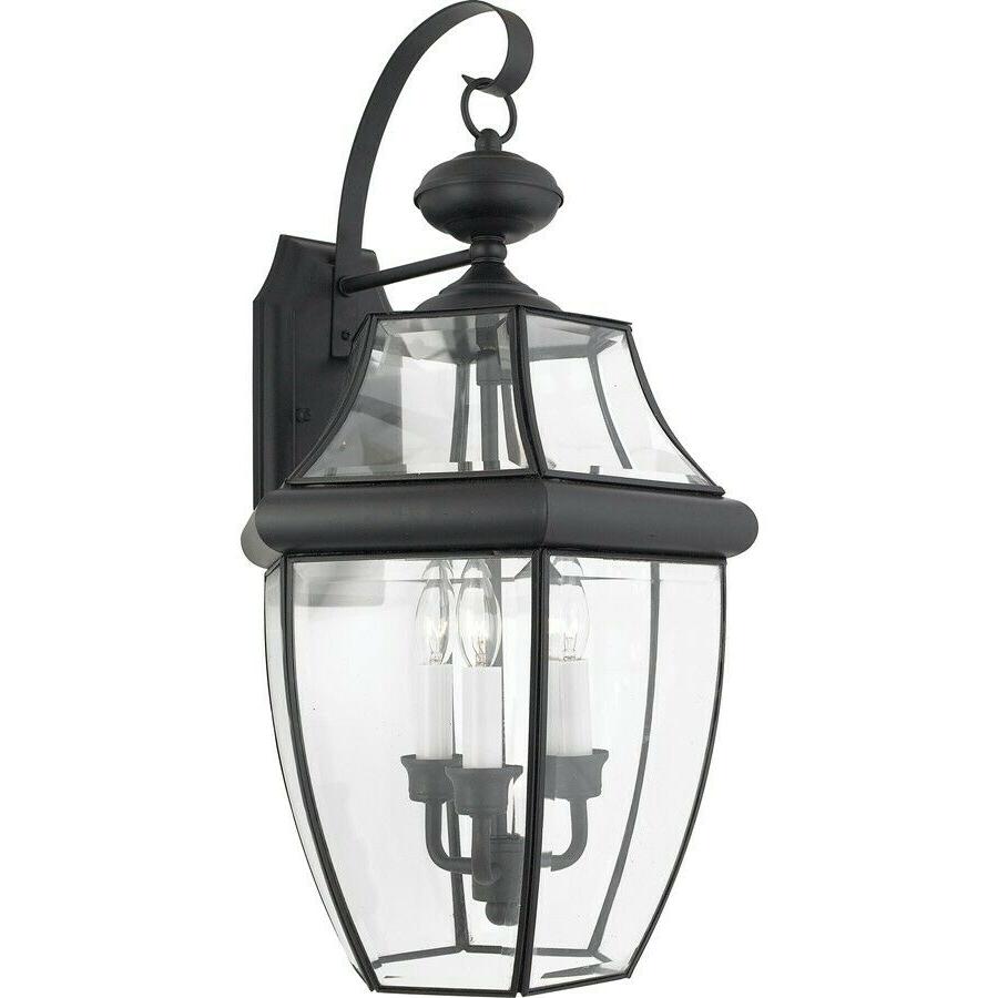 Quoizel 3 Light Newbury Outdoor Wall Lanterns, Mystic Within Preferred Nayen Black Wall Lanterns (View 3 of 20)