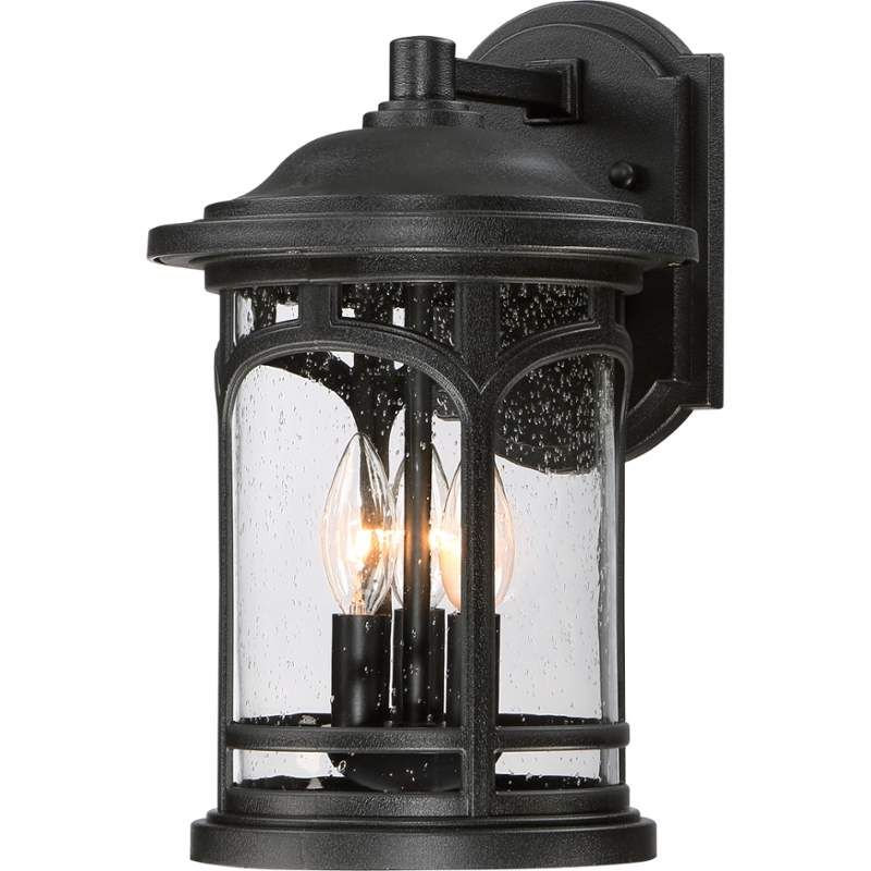 Quoizel Mbh8409k Mystic Black Marblehead 3 Light 14 1/2 With Regard To Latest Rockefeller Black 2 – Bulb  Outdoor Wall Lanterns (View 12 of 20)
