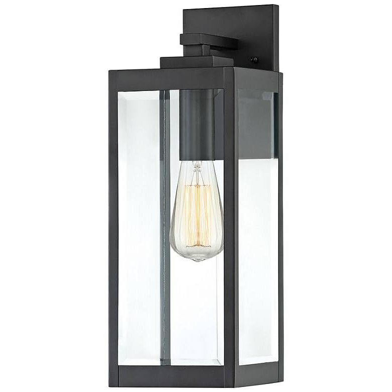 """Quoizel Westover 17"""" High Earth Black Outdoor Wall Light With Best And Newest Ainsworth Earth Black Outdoor Wall Lanterns (View 2 of 20)"""