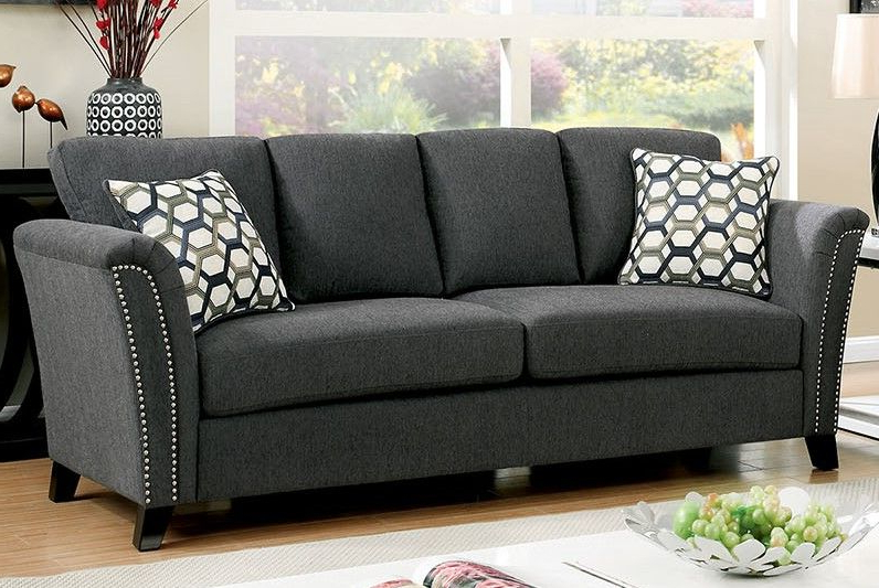Radcliff Nailhead Trim Sectional Sofas Gray In Most Recently Released Campbell Contemporary Sofa Upholstered In Gray Fabric With (View 15 of 20)