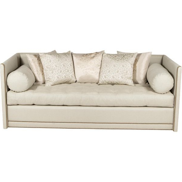 Radcliff Nailhead Trim Sectional Sofas Gray Inside Most Recent Pre Owned Tufted Sofa With Nailhead Trim ($2,995) Liked On (View 2 of 20)