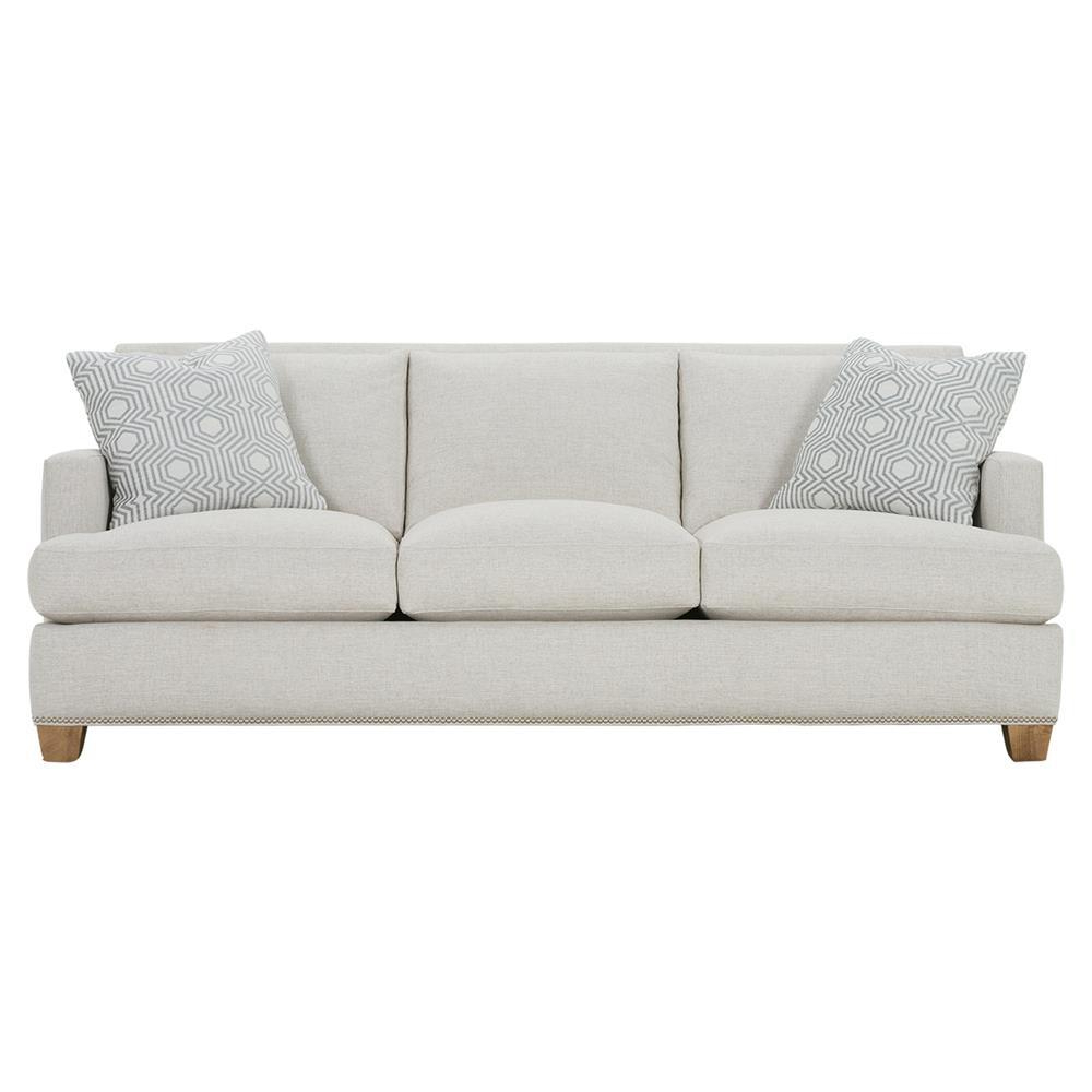 Radcliff Nailhead Trim Sectional Sofas Gray Regarding Popular Leandra Modern Classic Grey Upholstered Nailhead Trim Sofa (View 13 of 20)