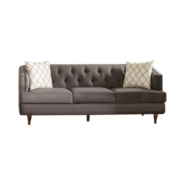Radcliff Nailhead Trim Sectional Sofas Gray With Most Recent Contemporary Grey Color Upholster Nailhead Trim Sofa (View 14 of 20)