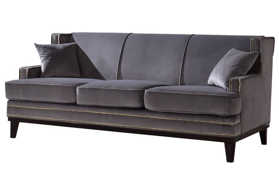 Radcliff Nailhead Trim Sectional Sofas Gray With Trendy Ugenia Velvet Sofa With Nailhead Trim In Grey From Divano (View 11 of 20)