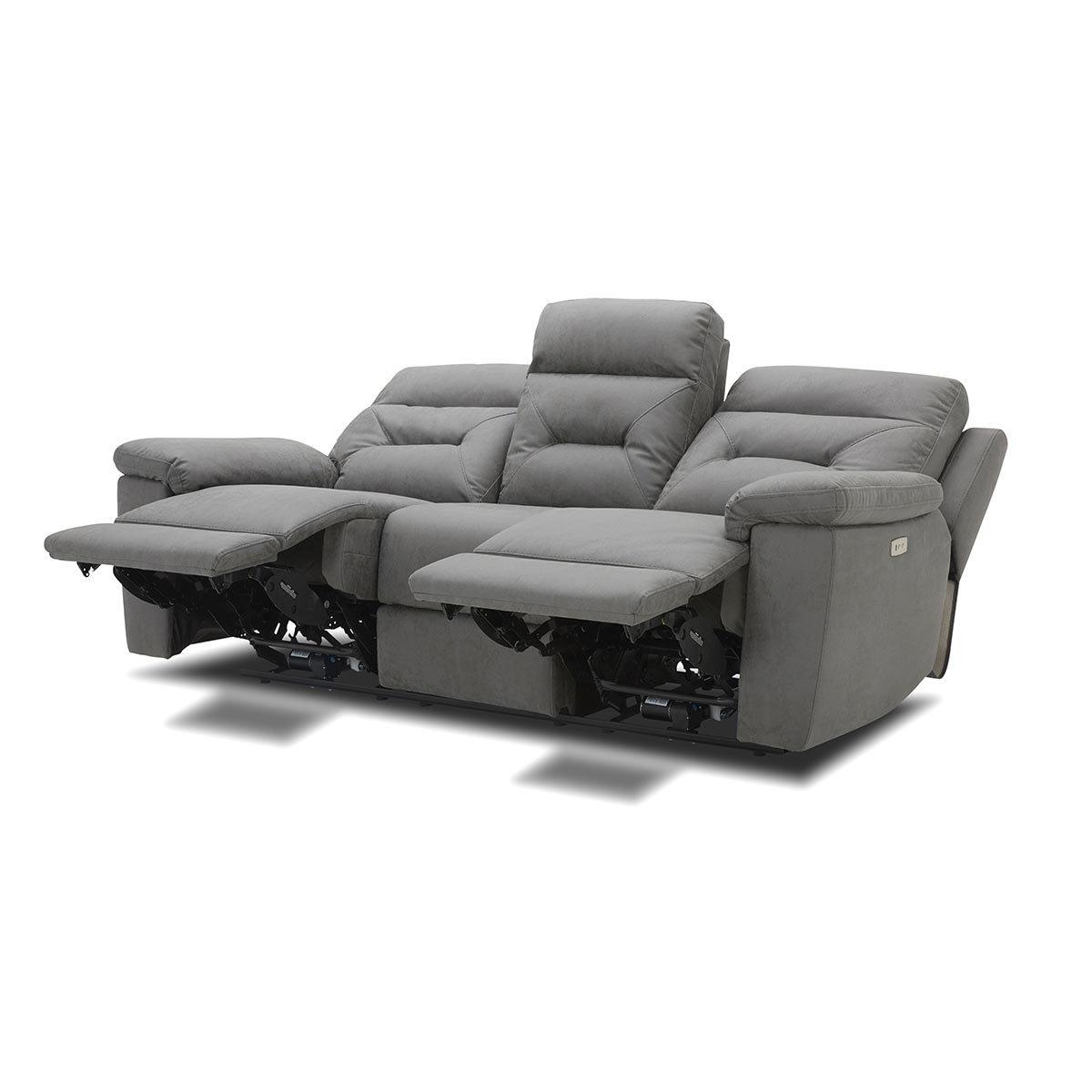 Raven Power Reclining Sofas Regarding Well Known Kuka Justin Grey Fabric Power Reclining 3 Seater Sofa (View 3 of 20)