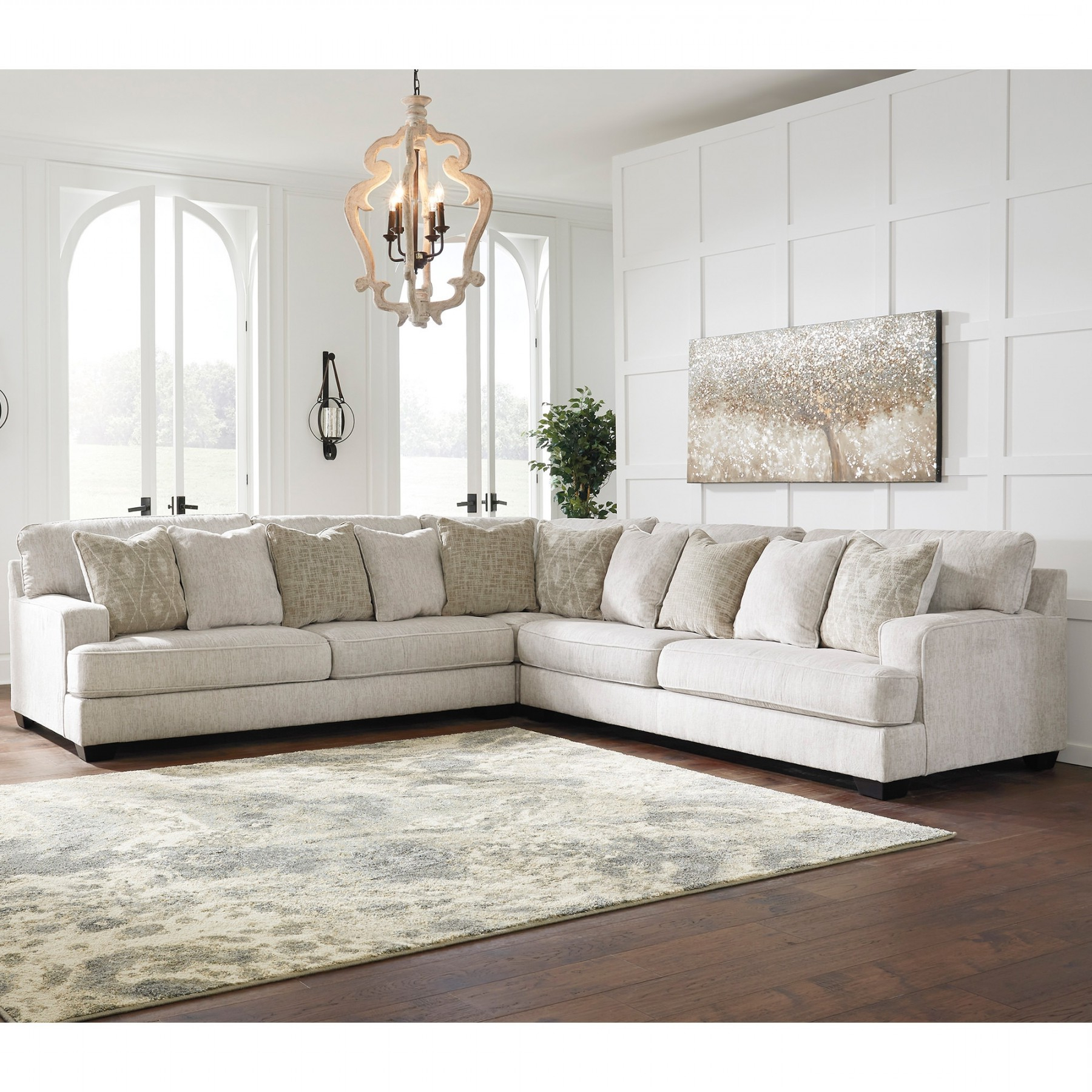 Rawcliffe Parchment 3 Piece Sectional – Sectionals Within Fashionable 3pc Polyfiber Sectional Sofas (View 18 of 20)