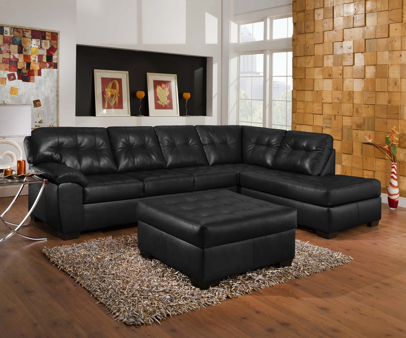 Recent 2pc Connel Modern Chaise Sectional Sofas Black With Regard To Soho Contemporary Onyx Leather Sectional Sofa W/ Left Chaise (View 10 of 20)