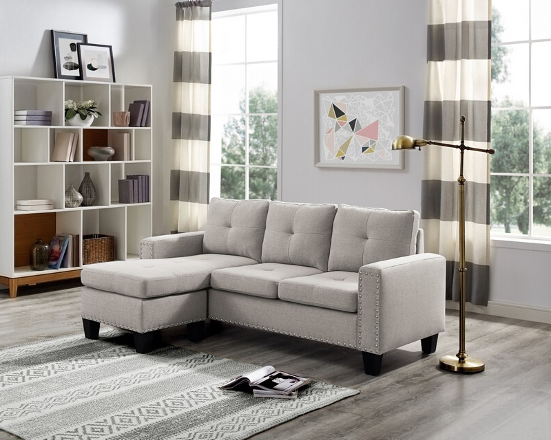 Recent 2pc Polyfiber Sectional Sofas With Nailhead Trims Gray Pertaining To Oah D6102 2 Pc Blair Light Gray Linen Like Fabric Nail (View 17 of 20)