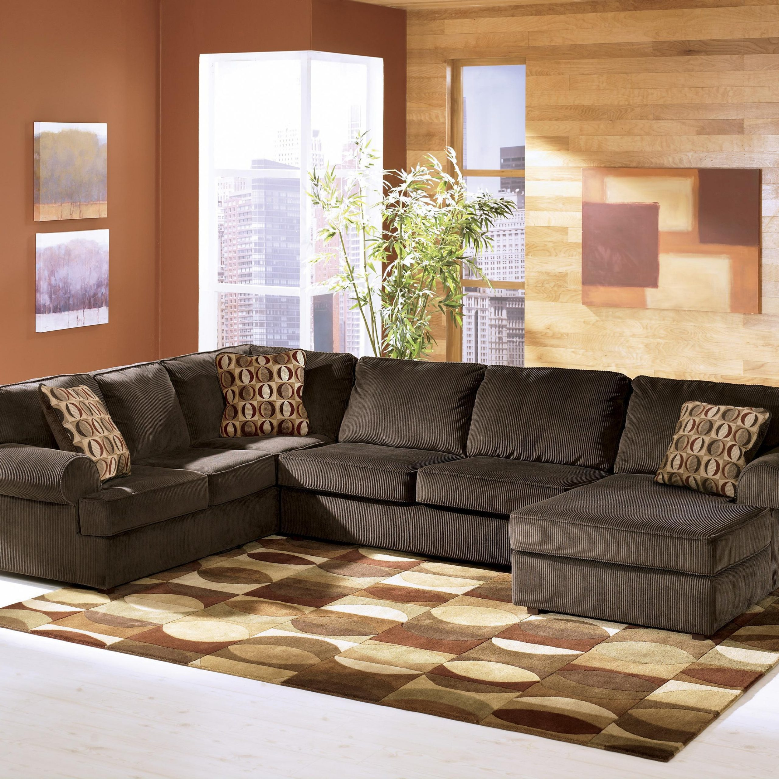 Recent 3pc Polyfiber Sectional Sofas Intended For Ashley Furniture Vista – Chocolate Casual 3 Piece (View 14 of 20)