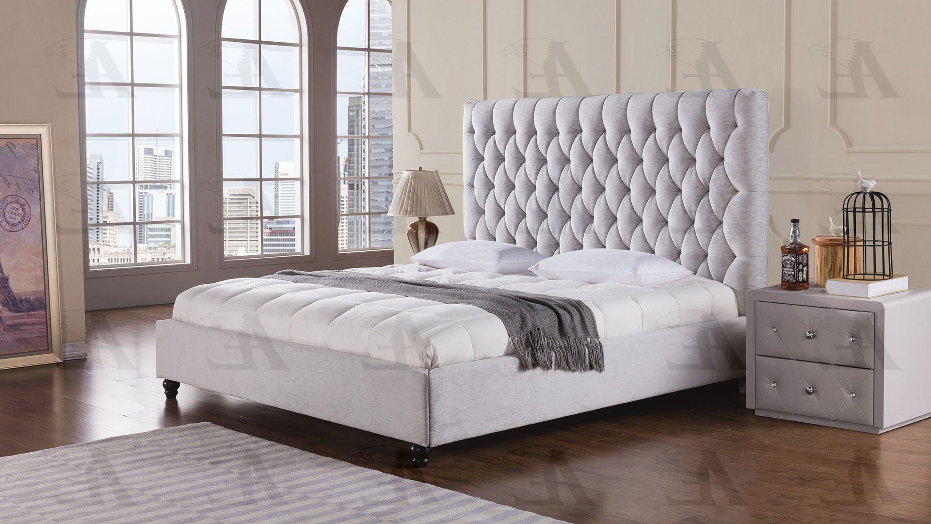 Recent Antonio Light Gray Leather Sofas Inside Light Gray King Size Bed Fabric Tufted Headboard American (View 20 of 20)