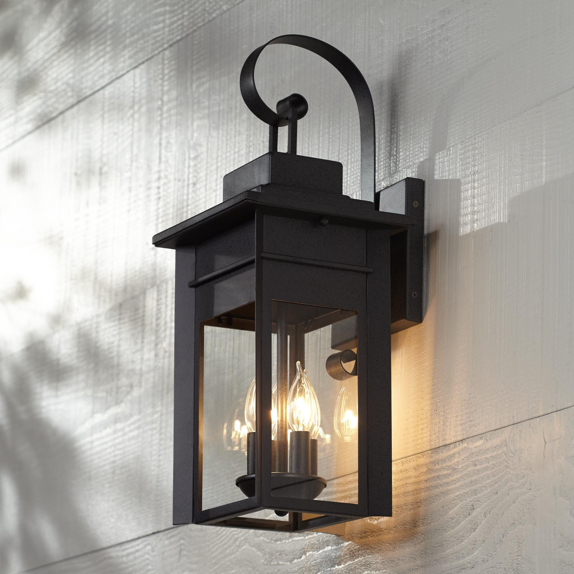 """Recent Bransford 21"""" High Black Specked Gray Outdoor Wall Light In Walland Black Outdoor Wall Lanterns (View 2 of 20)"""