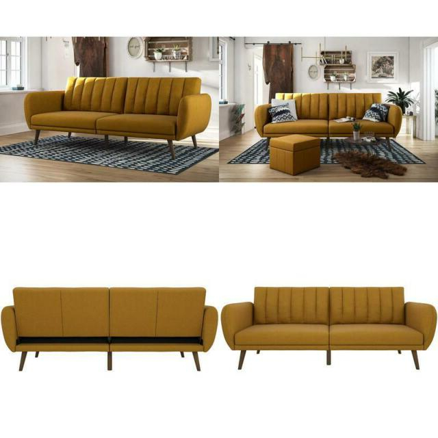 Recent Brittany Sectional Futon Sofas Intended For Novogratz Brittany Sofa Futon, Premium Linen Upholstery (View 14 of 20)