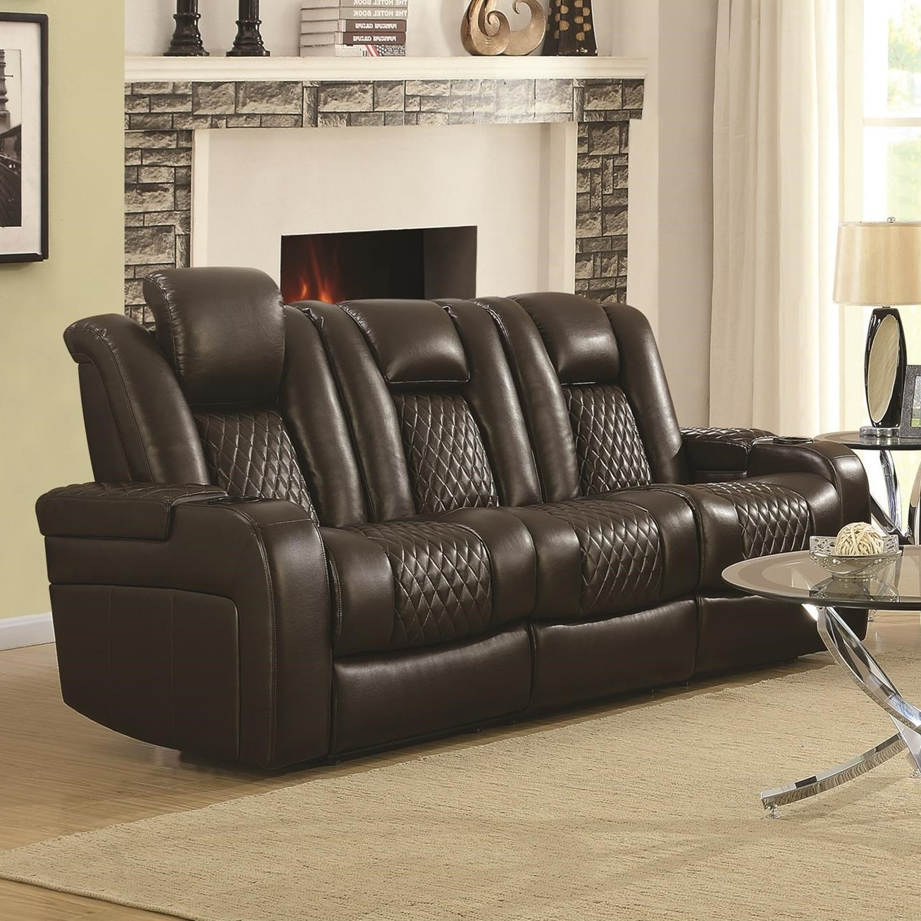 Recent Expedition Brown Power Reclining Sofas With Delangelo Casual Power Reclining Sofa With Cup Holders (View 11 of 20)