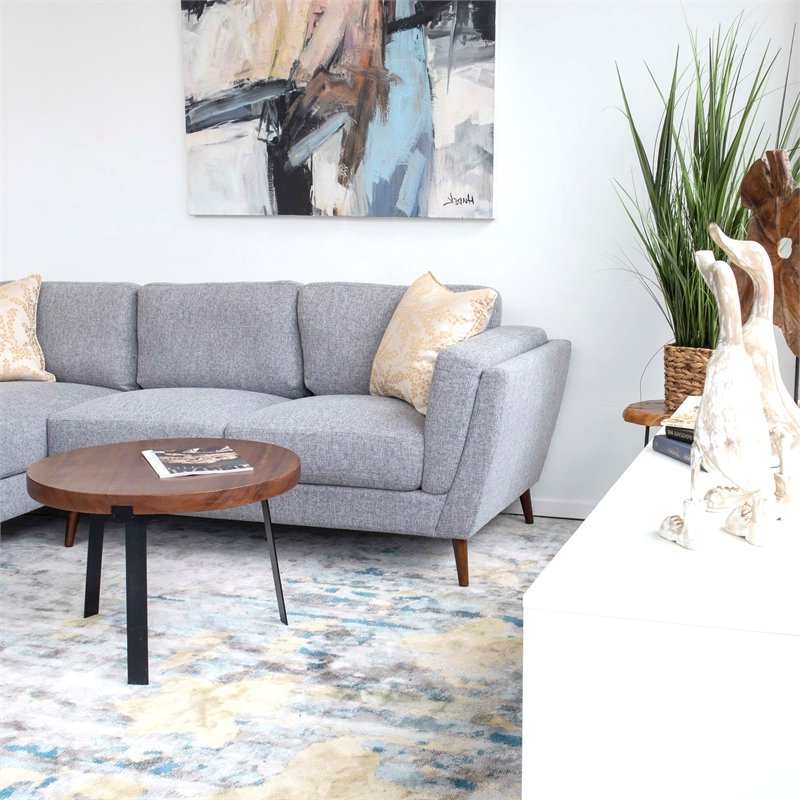 Recent Florence Mid Century Modern Right Sectional Sofas With Regard To Pemberly Row Mid Century Modern Sadie Gray Sectional Sofa (View 8 of 20)