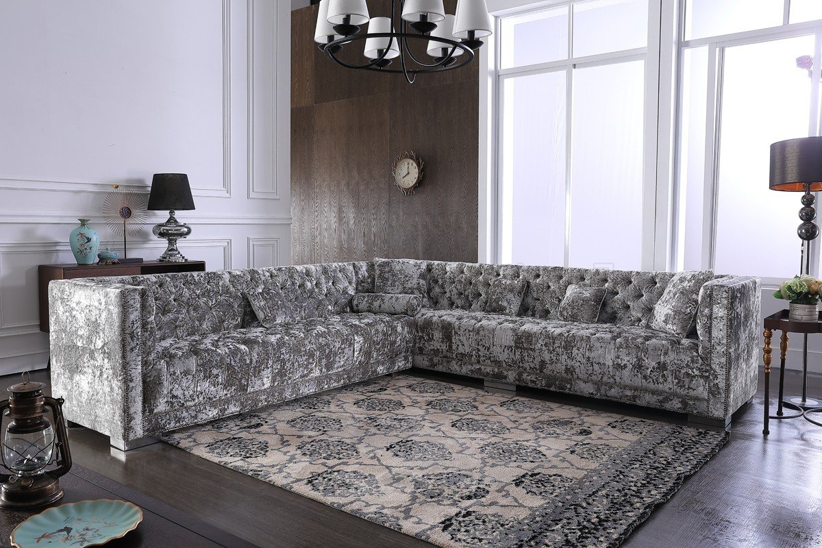 Recent French Seamed Sectional Sofas In Velvet With Regard To Fredrick Sectional Sofa In Grey Crushed Velvet Fabricvig (View 13 of 20)