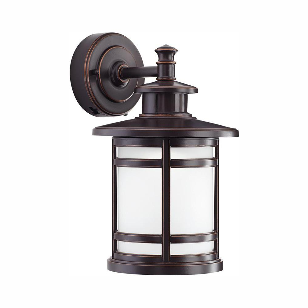 Recent Home Decorators Collection Oil Rubbed Bronze Motion Sensor With Regard To Brierly Oil Rubbed Bronze/black Outdoor Wall Lanterns (View 8 of 20)
