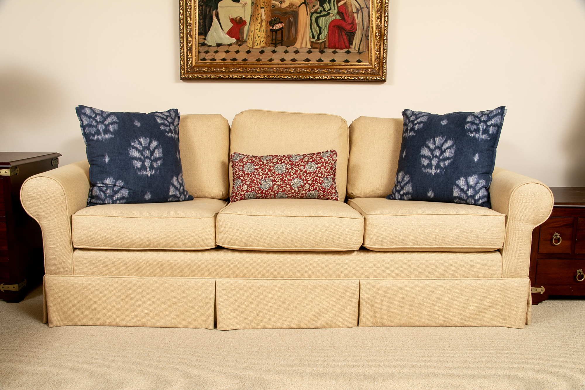 Recent Lyvia Pillowback Sofa Sectional Sofas Regarding Custom Upholstered Three Cushion Pillow Back Rolled Arm (View 2 of 20)