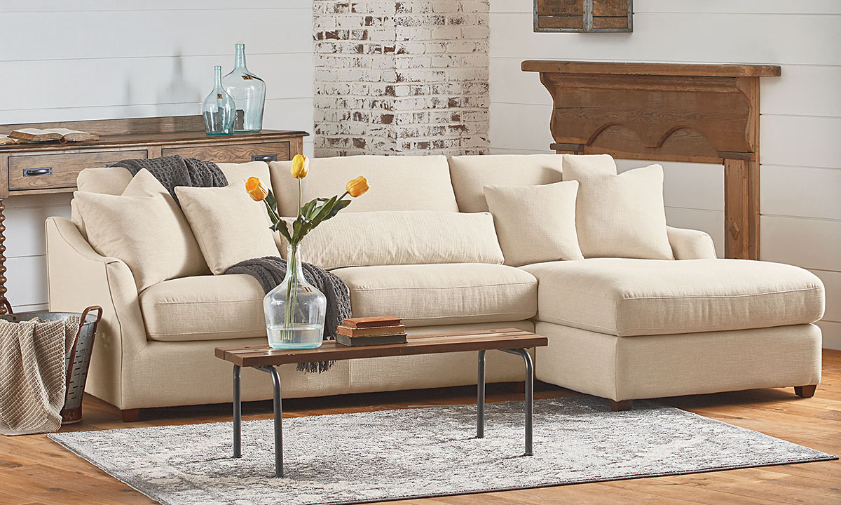 Recent Magnolia Sectional Sofas With Pillows Inside Magnolia Home Homestead Linen Sofa Chaise (View 14 of 20)