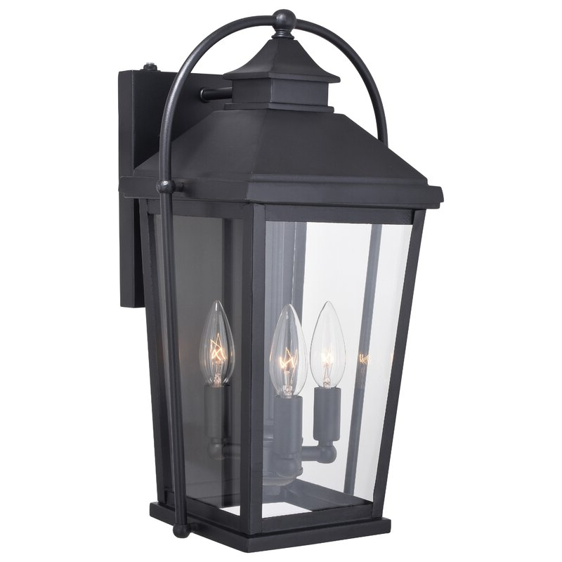 Recent Manteno Black Outdoor Wall Lanterns With Dusk To Dawn Pertaining To August Grove® Crediton Textured Black Outdoor Wall Lantern (View 10 of 20)