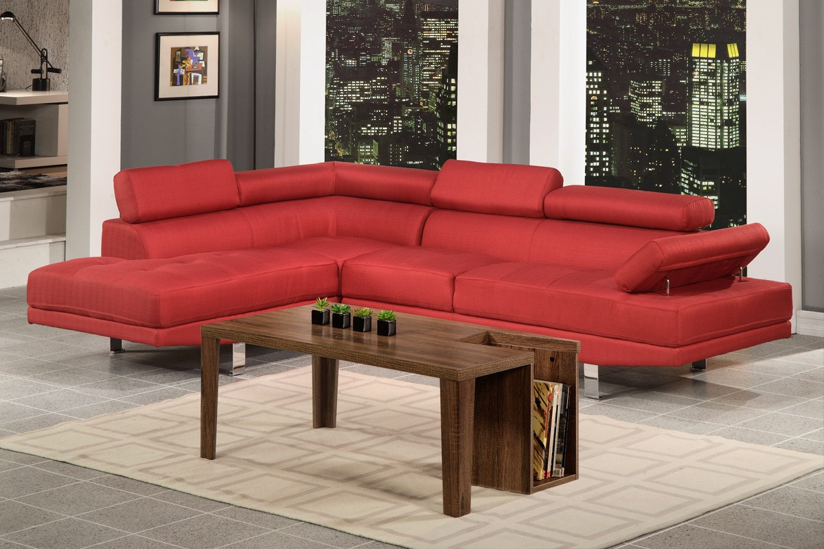 Recent Modern Contemporary Red Blended Linen Fabric Sectional Within Setoril Modern Sectional Sofa Swith Chaise Woven Linen (View 8 of 20)